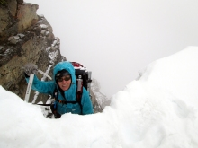 Me about to climb past the cornice.