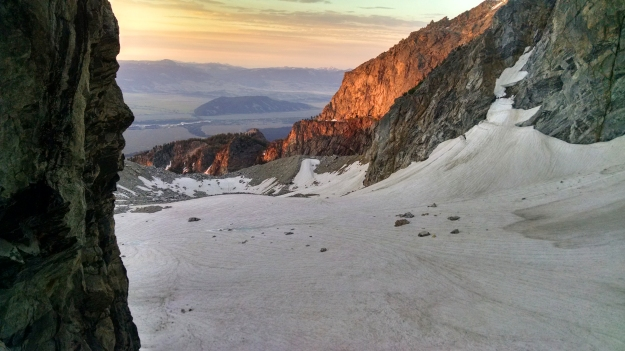 dawn on the Teton Glacier