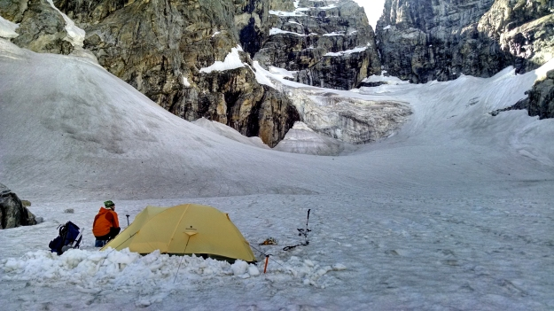 camp on the Teton Glacier