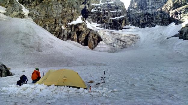 camp on the Teton Glacier