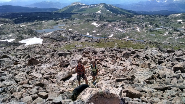Starting up the talus beneath the summit cap
