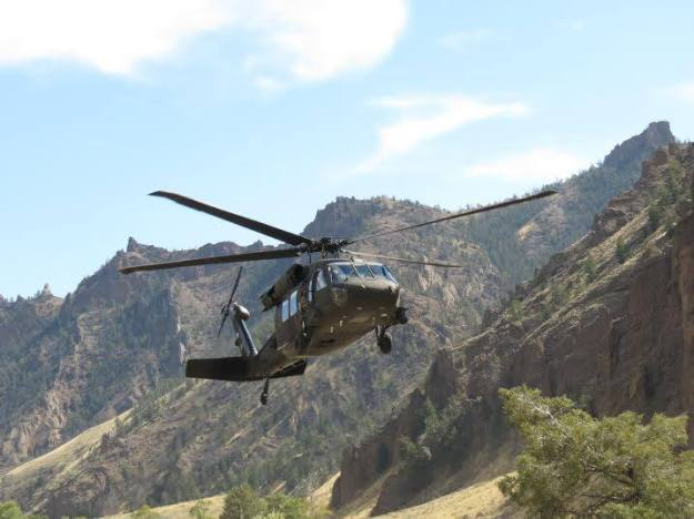 Blackhawk landing near Staging -- photo provided by Park County Sheriff's Office